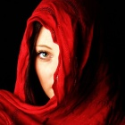 Обои red veiled girl